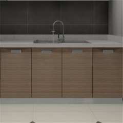 Monochromatic quartz kitchen island worktop