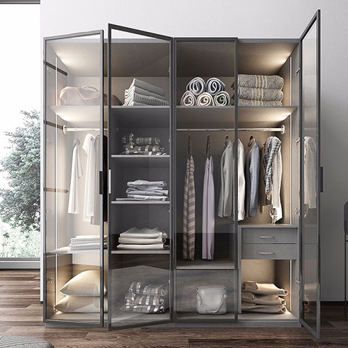 glass mirror wardrobe