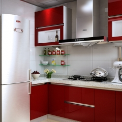 modern red lacquer small kitchen cabinets